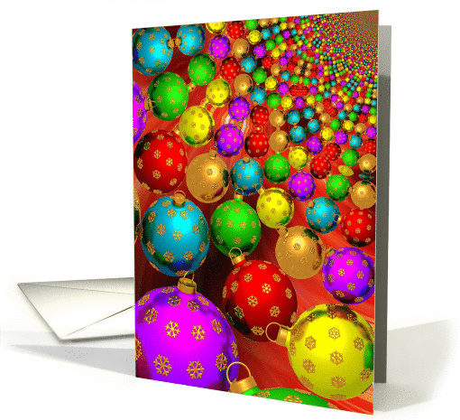 Merry Christmas to husband from wife with colored baubles card