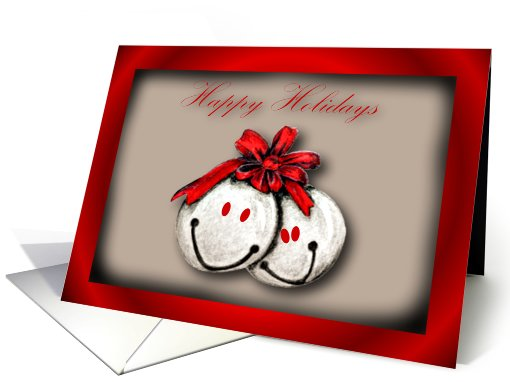 Happy Holidays with smiling chestnuts Christmas card (675654)