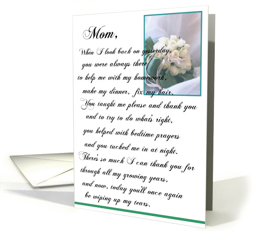 To My Mother on My Wedding Day card (250146)