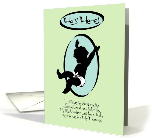 He's Here! New Baby Brother Announcement card (801670)