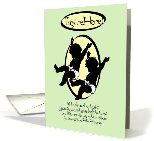 They're Here! New Baby Twins Announcement card (801685)