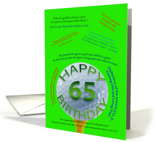 65th birthday golf jokes card (858337)