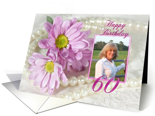 60th birthday, daisy and pearls photo card (900406)