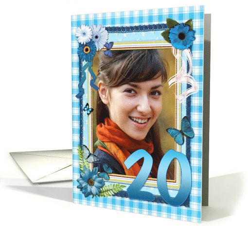 20th Photo birthday card, Flowers and butterflies craft-look card