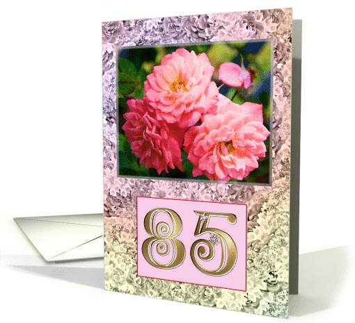 Old fashioned roses in a floral frame. card (236844)