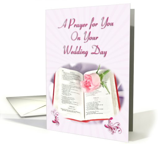 Bible and rose prayer card for a Wedding Day card (423950)