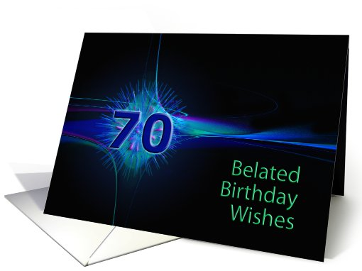 Belated 70th birthday wishes, with an abstract pattern card (620939)