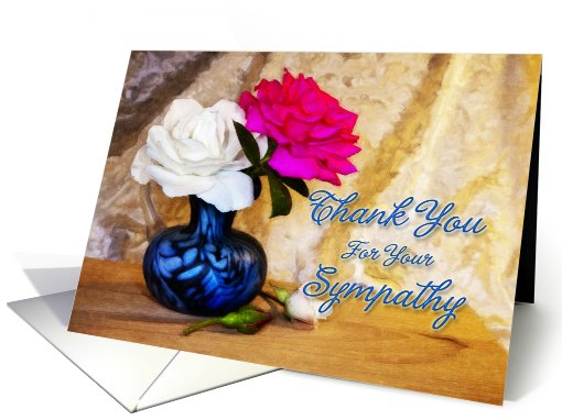 Roses in a vase say thank you for your sympathy card (820630)
