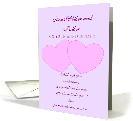 Mother and Father Wedding Anniversary Card - Hearts card (238561)