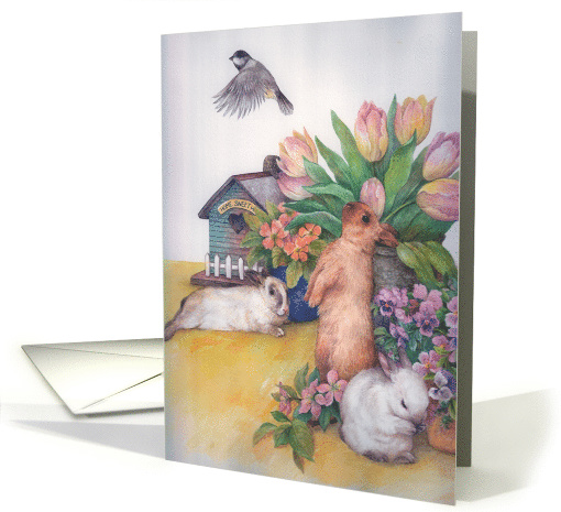 Easter bunny with illustrated spring floral card (386576)