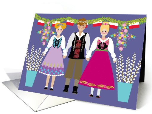 Dyngus Day Folk Art Boy and Girls with Polish Flags and... (1022797)