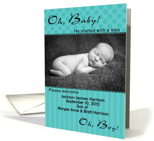 Baby Boy Birth Announcement Photo Card Bright Aqua Dots... (858798)