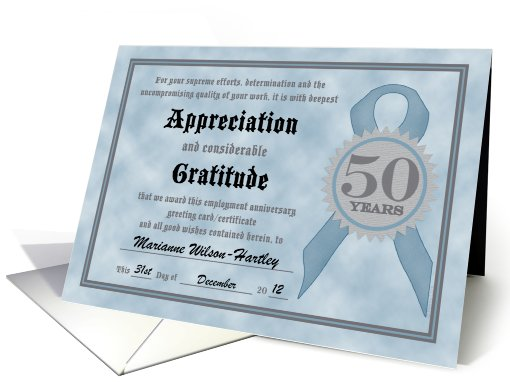 Employment Anniversary 50 Years Funny Customizable Certificate card