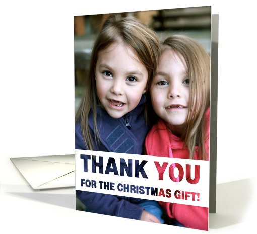Thank You Christmas Gift Photo Card Simple White Text Design card