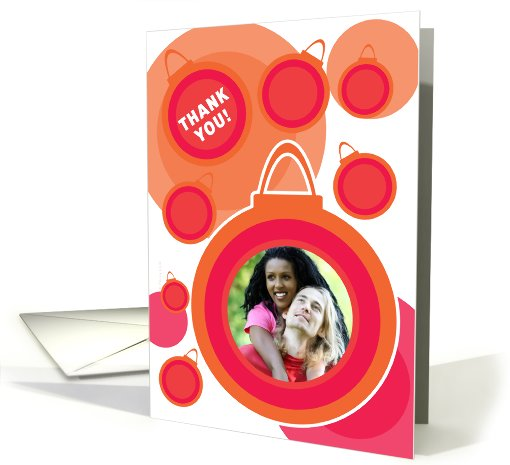 Thank You Christmas Gift Photo Card Modern Orange Baubles... (888908)