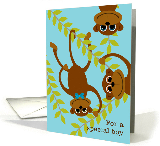 Boys Valentine's Day Monkey on Swinging Vine Valentine card (895944)