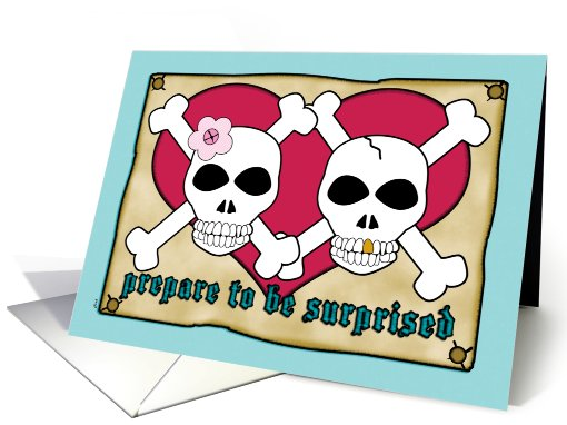 Elopement Announcements Pirate Skull Crossbones card (609550)