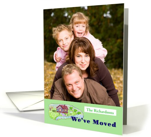 photocard,We've Moved, little house Illustrated card (890175)