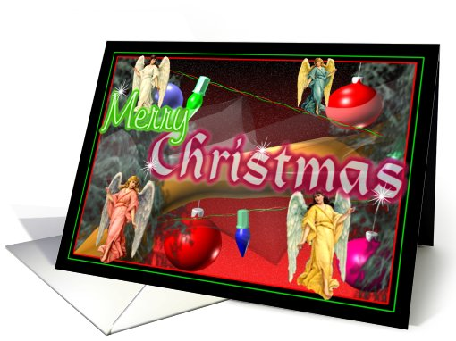 Christmas angels,ornaments, and light decorate  tree card (673000)