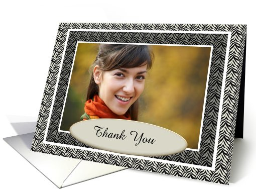 Classic Black And White Zebra Print Thank You Photo card (892875)