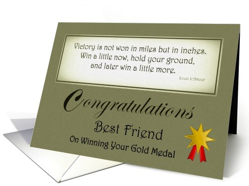 Congratulations - Best Friend / Gold Medal - Quote card (628928)