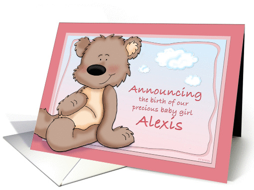 Alexis - Teddy Bear Birth Announcement card (662556)