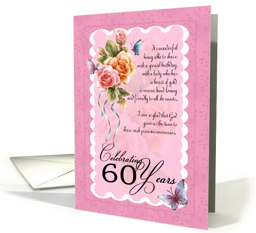 60th birthday greeting card - roses and butterflies 60th card (844113)