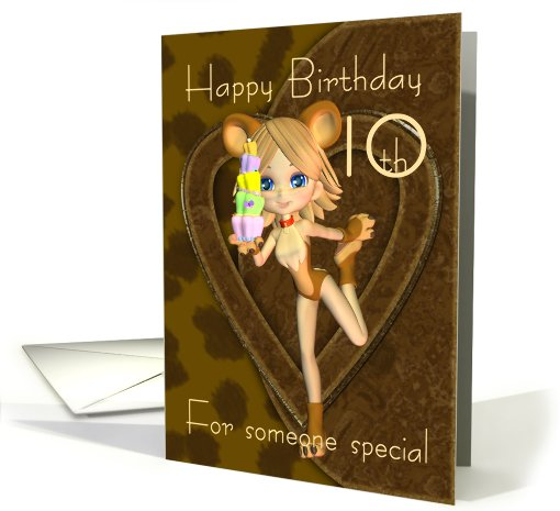 10th Birthday card, Cutie Pie Animal Collection card (435383)