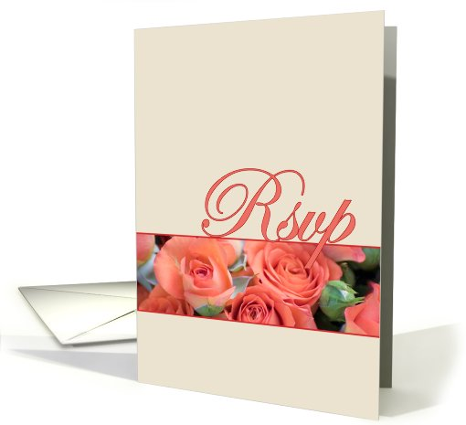 R.S.V.P, RSVP, Wedding Acknowledgement Card With Roses card (556903)