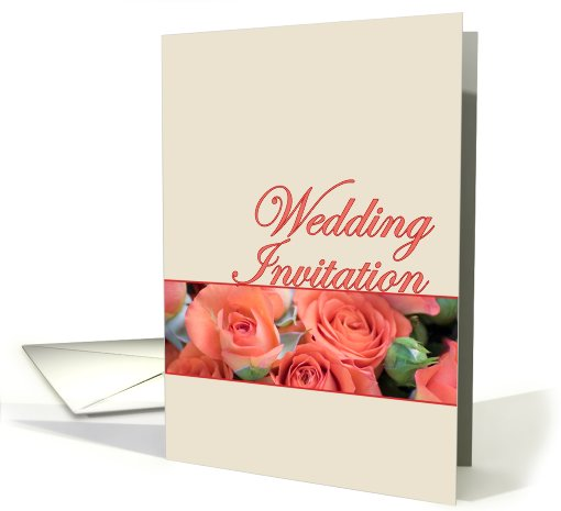 Wedding Invitation Card With Peach Roses card (556904)