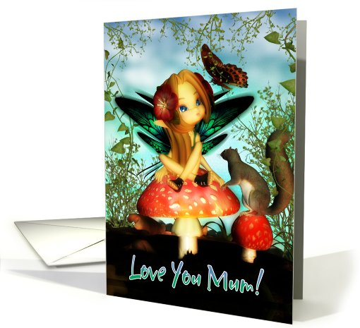 Mother's Day Card - Love You Mom, Cute Little Fairy card (597427)