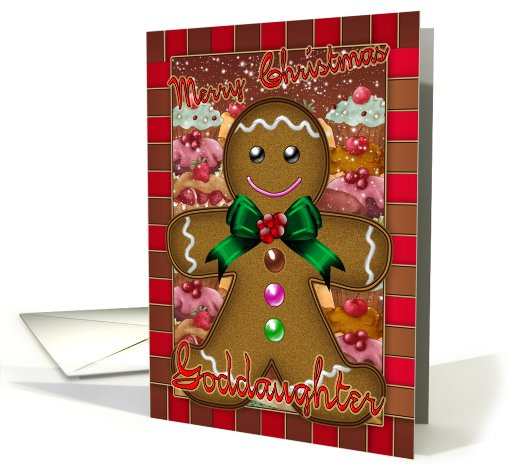 Goddaughter Gingerbread Man Christmas card (711849)