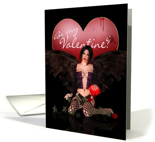 Sexy Adult Valentine's Day Card - Dark Gothic Angel card (759535)
