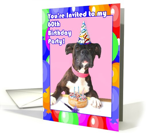 60th Birthday Party invitation boxer dog card (412035)