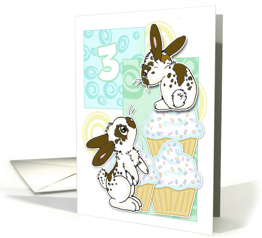 3rd Birthday-Bunnies and Cupcakes-Blue card (452207)