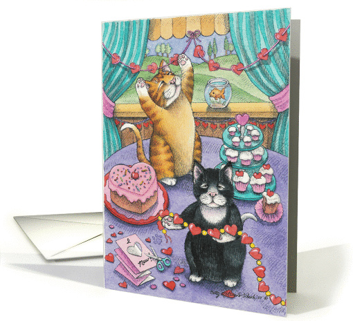 Cats Making Valentines (Bud & Tony) card (368851)