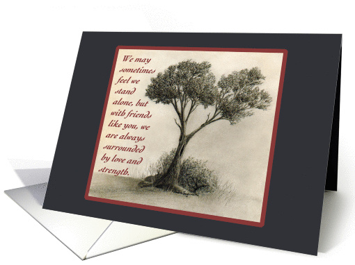 Sympathy Thank You Friend - Tree Drawing card (703346)