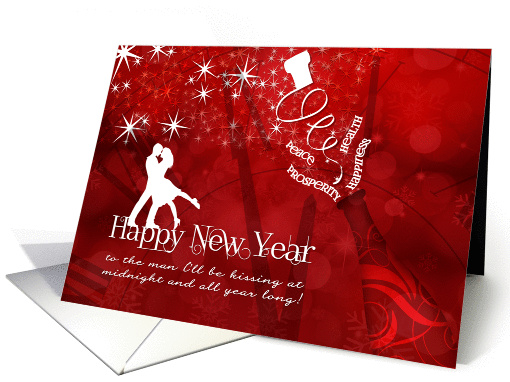 for Husband Happy New Year Champagne in Red and White card (1194362)
