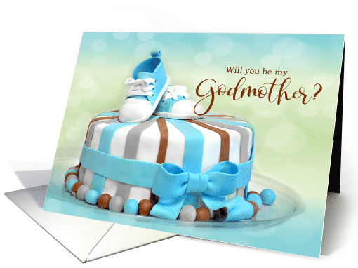 Will you be my Godmother? Blue Polka Dot card (430607)