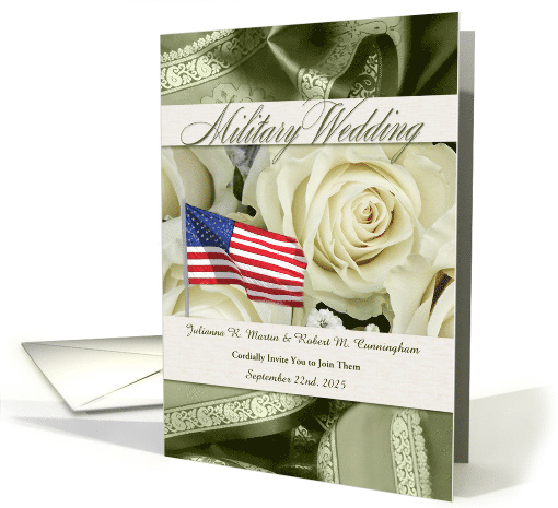 Military Wedding Invitation White Roses and Sage Green card (631007)