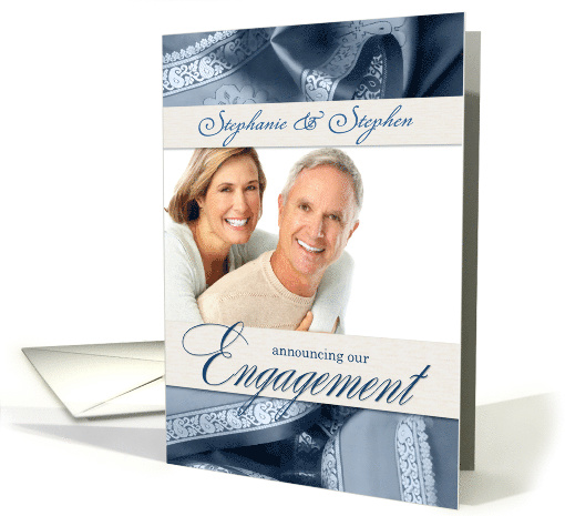 Engagement Announcement Photo Card in Slate Blue & Cream card (854977)