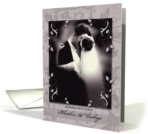 Personalized Wedding Invitation in Taupe Floral card (899923)