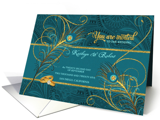 Peacock Wedding Invitation in Teal and Gold Custom card (907444)