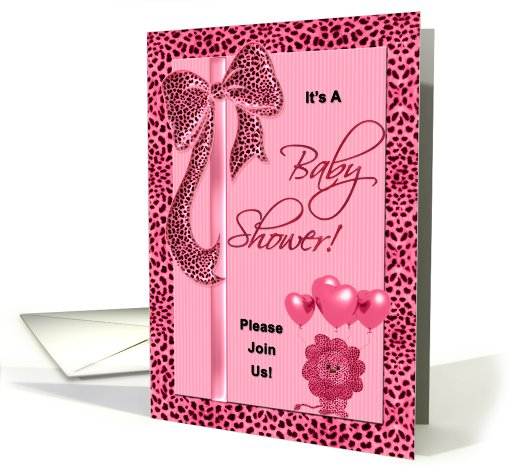 Baby Shower Invitation Pink Cheetah Print card (709998)
