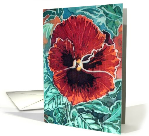 Red Pansy card (429798)