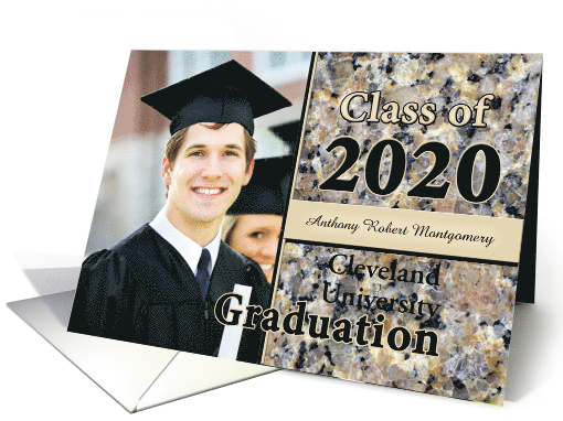 Custom Graduation Announcement 2013 Brown Stone Photo card (598726)