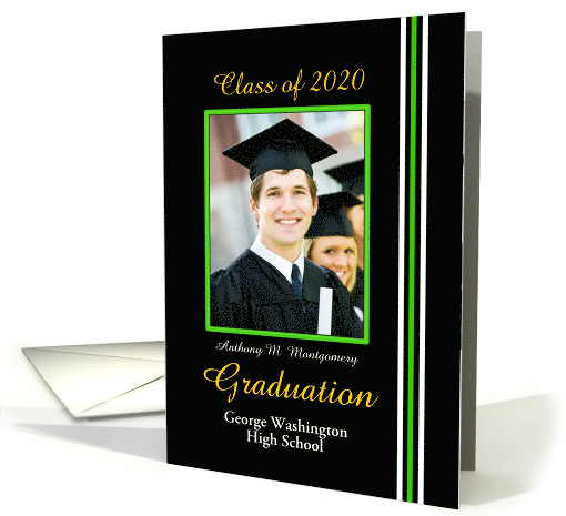 Graduation Announcement Black, Green and White Photo card (852921)