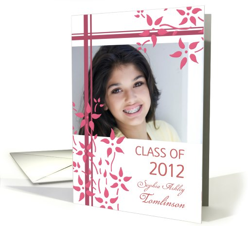Graduation Announcement Custom Name Photo Card - Pink Floral card