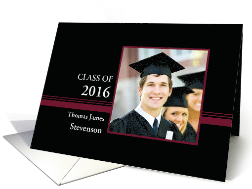 Graduation Announcement Custom Name Photo Card - Black & Red card