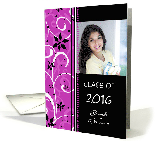 Graduation Announcement Custom Name Photo Card - Pink &... (787529)